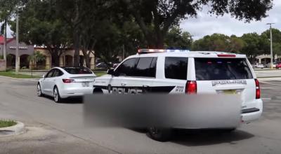 policja zatrzymała teslę