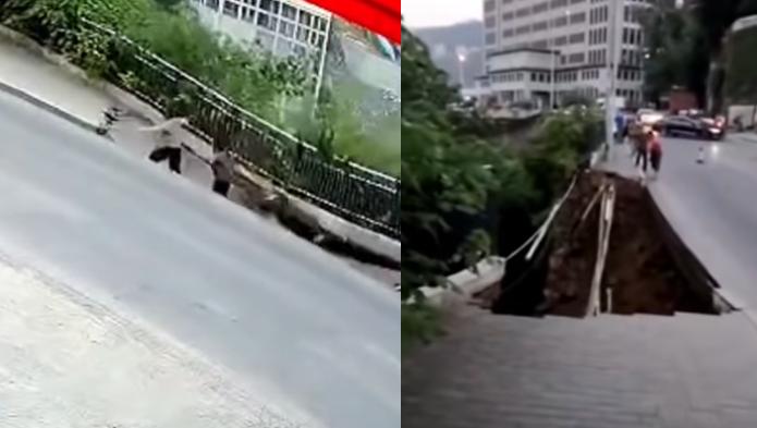 chodnik zapadł się pod ziemię