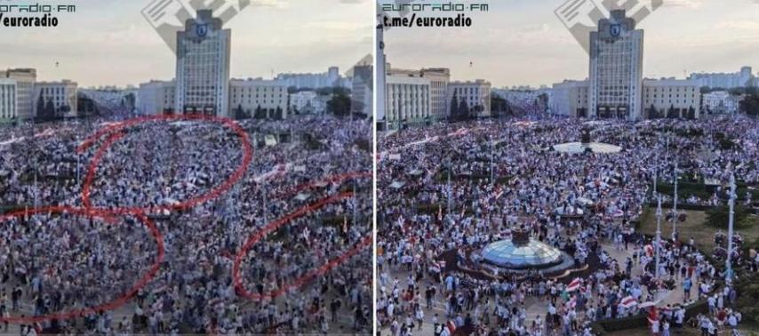 Protesty na Białorusi to fotomontaż
