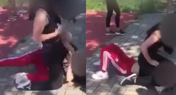 bójka dziewczyn przed szkołą
