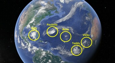 pięć cyklonów w jednym czasie