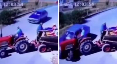 zderzenie samochodou z traktorem