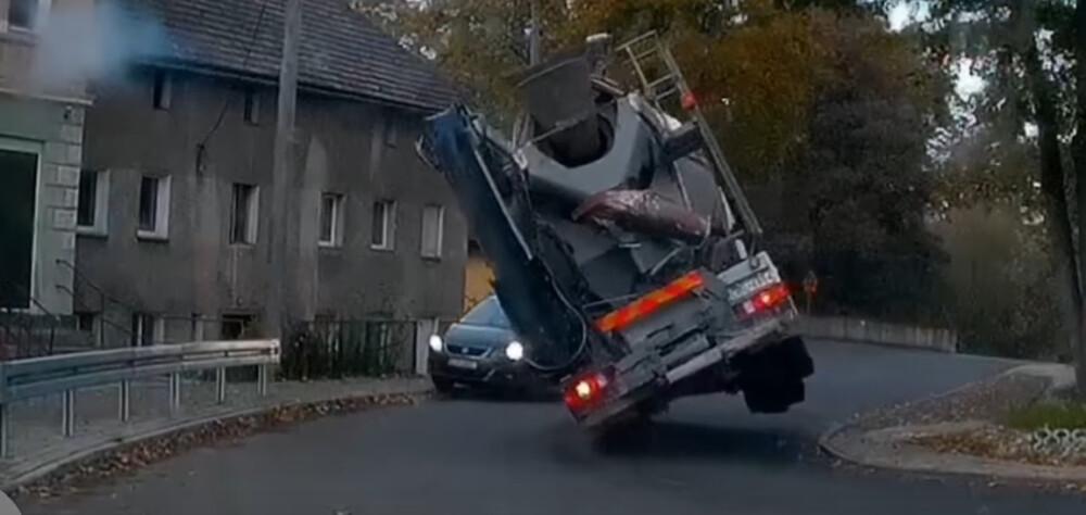 betoniarka prawie zmiażdżyła