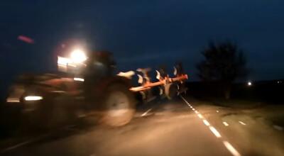 niebezpieczna kolizja z traktorem