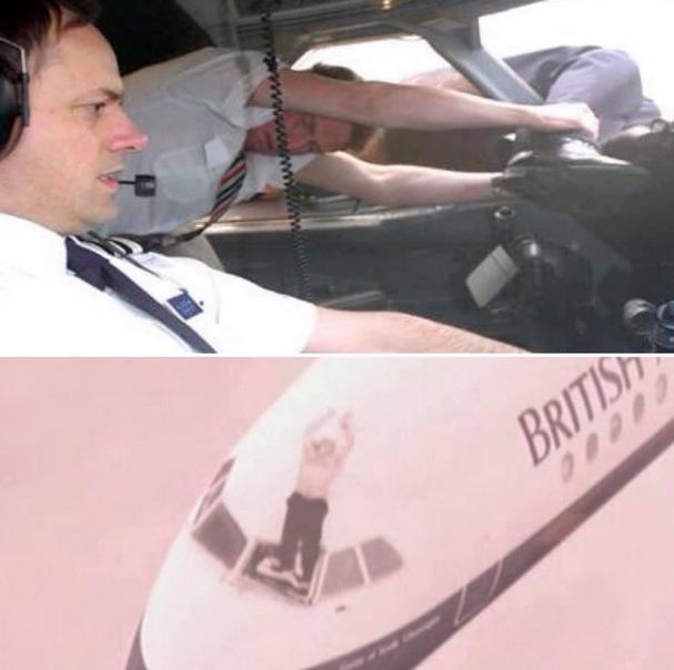 pilot wyssany z kabiny