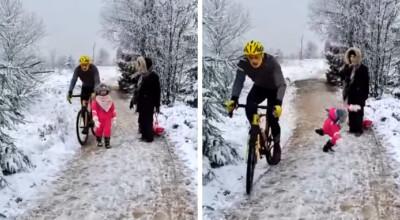 rowerzysta kopnął małą dziewczynkę