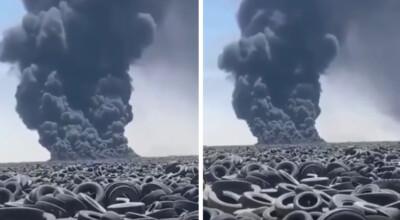 pożar ogromnego składowiska opon
